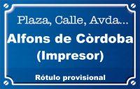 Alfons de Córdoba, impresor (calle)